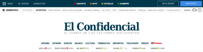 Página web de El Confidencial