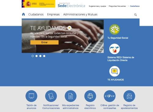 Web sede Seguridad Social